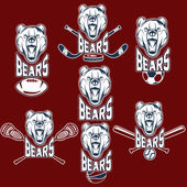 Set of bear sports labels — 图库矢量图片