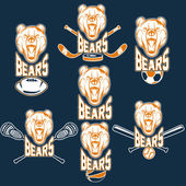 Set of bear sports labels — Vecteur