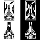 Illustration of tequila with guns and cactus — Stock Vector