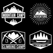 Set of vintage labels mountain adventure and camping — Stock Vector