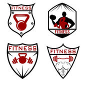 Set of fitness labels — Stock Vector
