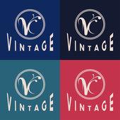 Vintage monogramme — Vecteur