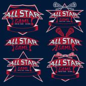 Set of vintage sports all star crests with lacrosse theme — ストックベクタ