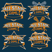 Set of vintage sports all star crests with lacrosse theme — Stock Vector