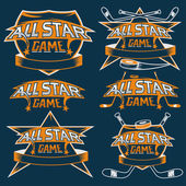 Set of vintage sports all star crests with hockey theme — Stock Vector
