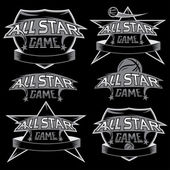 Set of vintage sports all star crests with basketball theme — Stock Vector