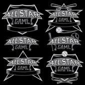 Set van vintage sport alle sterren toppen met honkbal thema — Stockvector