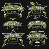 Set of vintage sports all star crests with american football the — Stock Vector