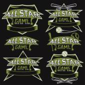 Set of vintage sports all star crests with baseball theme — Vettoriale Stock