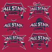 Ensemble de sport vintage toutes les crêtes étoiles avec thème basket — Vecteur