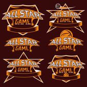 Set of vintage sports all star crests with basketball theme — Vector de stock