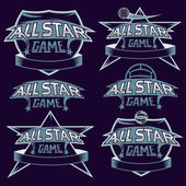 Set of vintage sports all star crests with soccer theme — Stock Vector