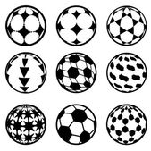 Set of football and soccer balls — Stock Vector