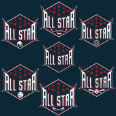 Set of vintage sports all star crests — Vettoriale Stock