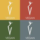 Vegan monogram in carrot form — Stock Vector
