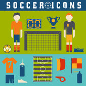 Vector collection of flat icons on the theme of football — Stock Vector