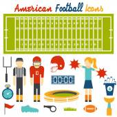 Flat design icons of american football — Stock Vector