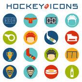 Flat design icons of hockey — Stock Vector