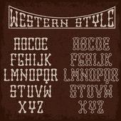 Grunge western alphabet — Stok Vektör