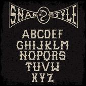 Snake style gothic grunge alphabet — Stock Vector