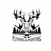 Hunting and fishing vintage emblem vector design template — Stock Vector