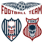 Football team crests set with wings and skulls — Stock Vector
