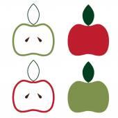 Apples set vector design template — Stock Vector