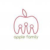 Happy apple family vector design template — Stock Vector