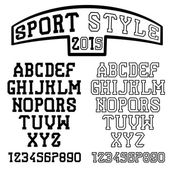 Serif font in the retro style of sport — Stock Vector