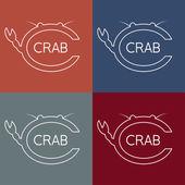 Crab monogram — Vetor de Stock