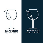 Seafood restaurant vector design template with wine glass and fi — Stock Vector