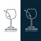 seafood restaurant vector design template with wine glass and fish — ストックベクタ