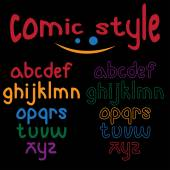Lowercase comic style alphabet — Stock Vector