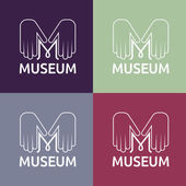 Museum monogram with hands — Stock Vector