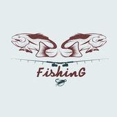 Vintage fishing vector design template — Stock Vector