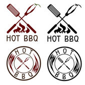 Hot BBQ grill vector labels collection — Stok Vektör
