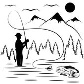 Vintage illustration of fishing theme — Stock Vector