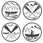 Canoe camp vintage labels set — Stock Vector