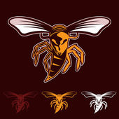 Aggressive bee or wasp mascot — Stock Vector