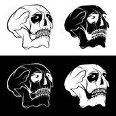 Set of skulls with eyes vector design template — Stock Vector
