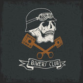 Biker theme label with pistons and skulls — Stock Vector