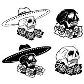 Day of The Dead Skull with flowers and sombrero, dia de los muer — Stockvector