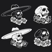 Dag van de dode schedel met bloemen en sombrero, dia de los muer — Stockvector