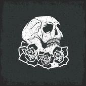 Dag van de dode schedel met bloemen, dia de los muertos — Stockvector
