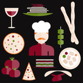 Flat design italian cuisine elements and chef — Stock Vector