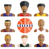 Vector set of legend basketball players icons in flat design — Stock Vector