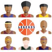 Vector conjunto de iconos de jugadores de baloncesto de leyenda en diseño plano — Vector de stock