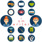 Flat design writer web icons set — Stock Vector