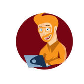 Cartoon illustration of young hipster man with laptop — ストックベクタ