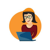 Cartoon illustration of young hipster woman with laptop — Stock Vector